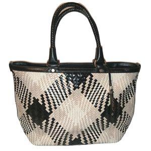 Cole Haan Genevieve Diamond Plaid Leather Tote Bag